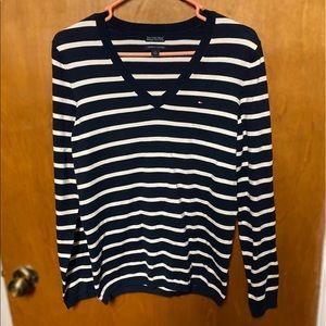 Tommy Hilfiger Striped V-Neck Knit Sweater